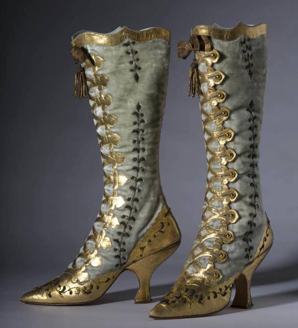 1870 velvet and gold leather button boots.: