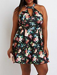 BLACKPlus Size Mock Neck Keyhole Skater Dress