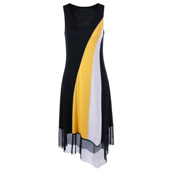 $14.34 Tulle Trim Asymmetrical Casual Sleeveless Dress - Yellow And Black