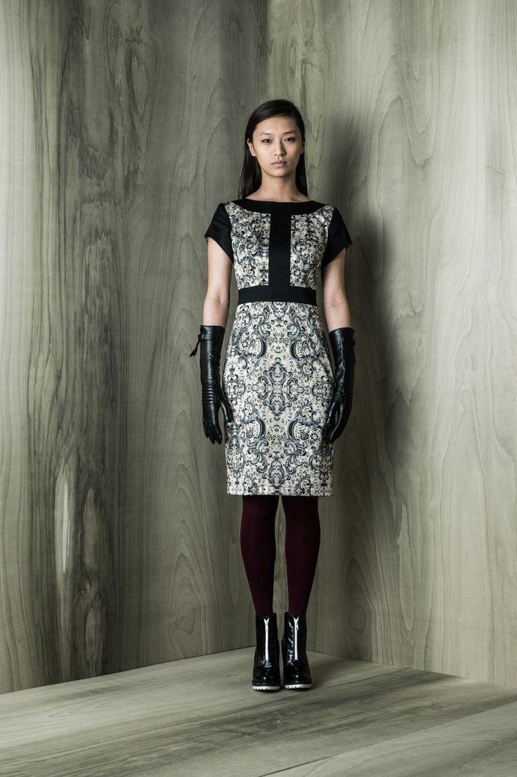 Midnight dress, navy and black combination