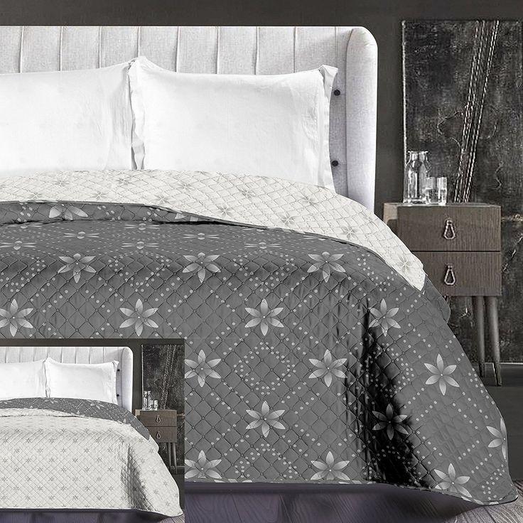 Moderné prehozy na posteľ v sivej farbe