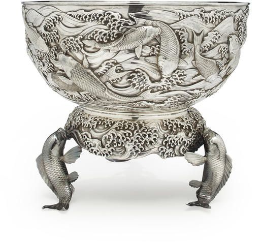 £26,000 A large silver punch bowl and stand By the Konoike workshop, Meiji period (late 19th century)