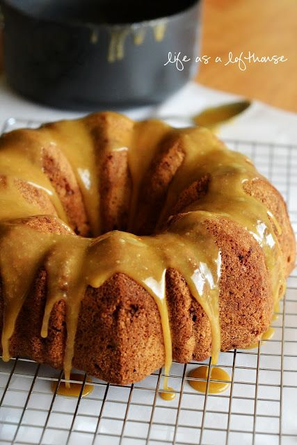 Caramel Apple Pound Cake Recipe ~ A warm apple cake drenched in buttery, gooey caramel sauce….  Holeeeee cow! SO good!