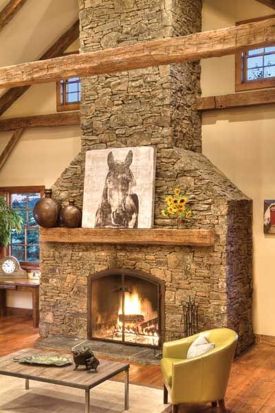 Every element of the fireplace facade is reclaimed or sidecycled. The mantel is part of the 200 year-old barn.