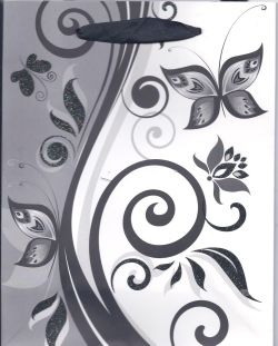 Black and white butterfly gift bag