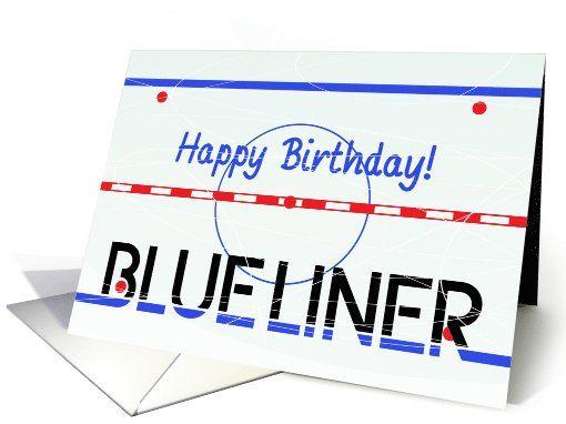 Happy Birthday! Blue Liner Hockey Greeting Card