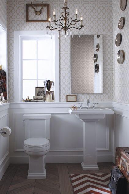 awesome bathroom: Bathroom Design, Small Bathroom, Half Bath, Pedestal Sinks, Bathroom Ideas, Eclectic Bathroom, Contemporary Bathroom, Powder Rooms, Wall Molding