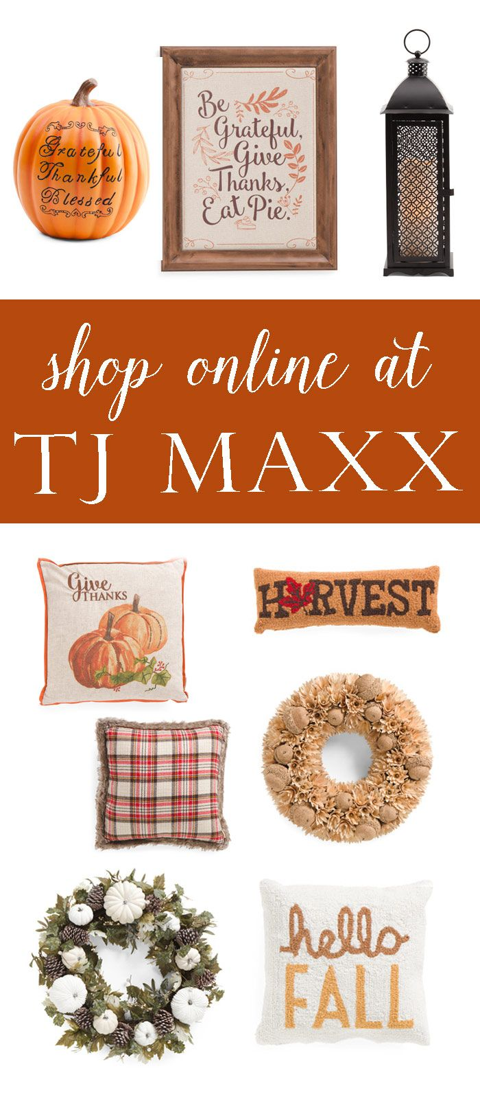 What the what? You can now score those awesome deals from TJ Maxx ONLINE! Don't you hate it when you go to TJ Maxx only to find out the cool fall pillow you wanted is sold out? Now you can shop online from the comfort of your couch (aff link)