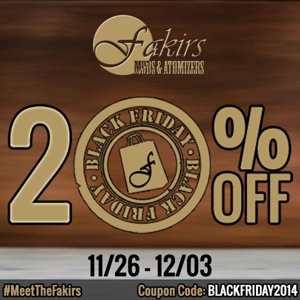 "Black Friday continues.... You can use ""BLACKFRIDAY2014"" coupon code for getting discount. The last two days.   Enjoy it!  Best regards. Fakirs Mods & Atomizers  #BlackFriday #BlackFriday2014 #BlackFridaySale #discount #coupon #MeetTheFakirs #ecig #vape #vapeon #vapelyfe #vapefam #vapearazzi #instavape #nwvapers #calivapers #vapestagram #vapecommunity #vapeporn #vaporporn #vaporlife #vapelife #vapelove #clouds #cloudchaser #vapefamous #vapershouts #vapetricks #authentic #notaclone"
