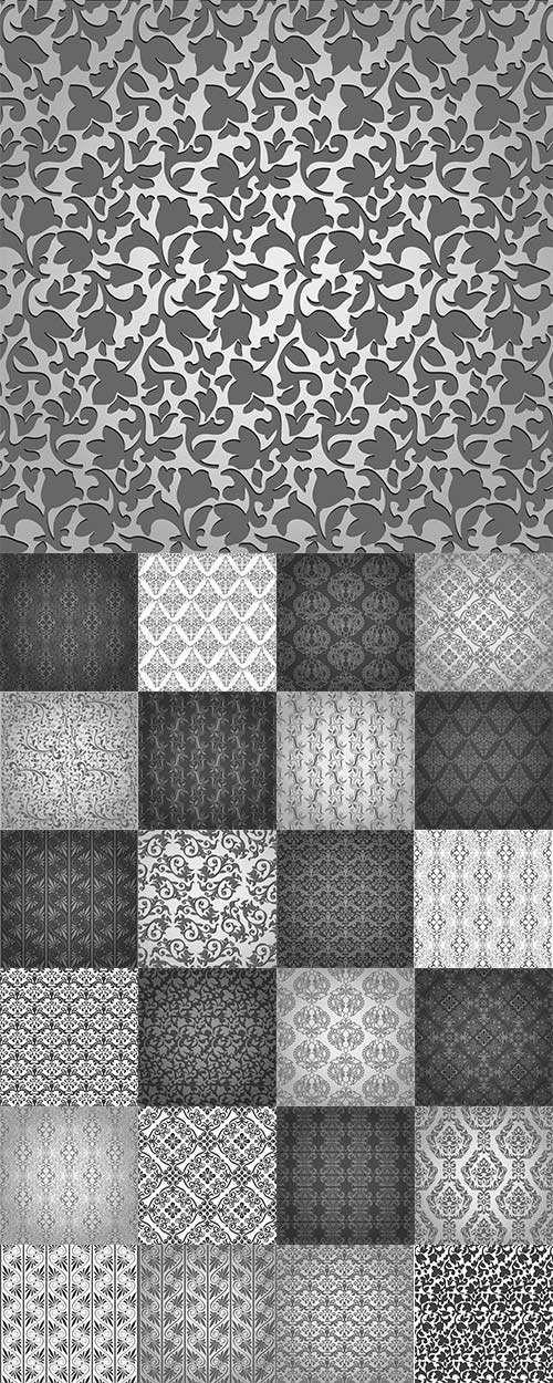 Vintage patterns on a gray background - Винтажные узоры на сером фоне