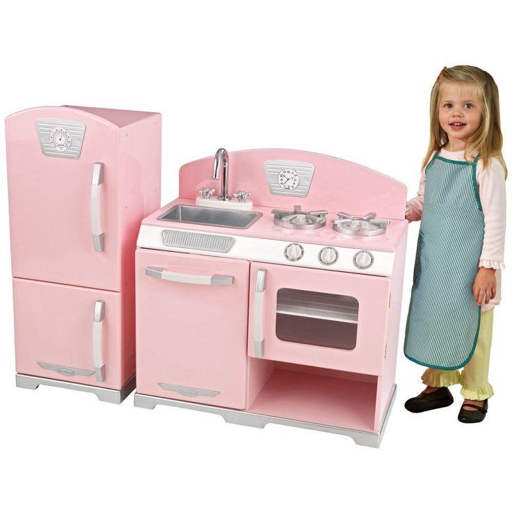 KidKraft 2 Piece Pink Retro Kitchen And Refrigerator   Play Kitchens At  Hayneedle