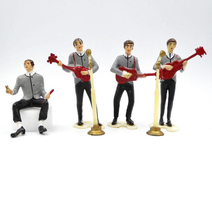 Vtg 1960's The Beatles Rock Band Wilton Cake Toppers Figurines 6 pc Set Plastic #Wilton