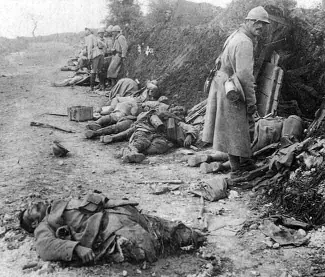 WW1: Result of German barrage upon French trenches around Verdun. As the war of the trenches progressed, gunners learned to aim for the rear wall of any entrenchment -- thus causing shrapnel to spray those seeking cover inside the trench. #WWI #Verdun #trenchwarfare