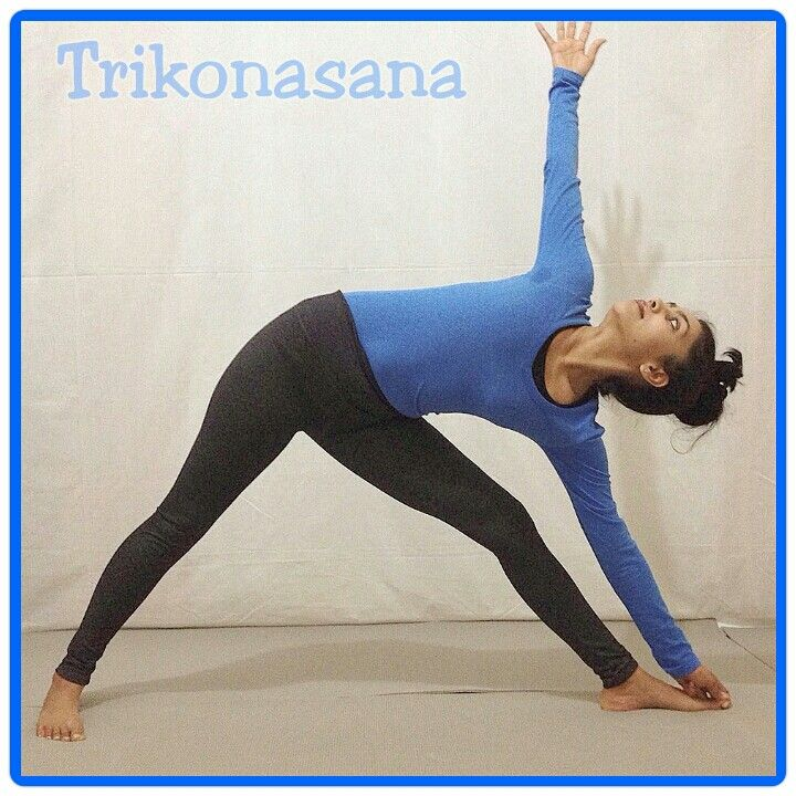 Trikonasana The body forms three angles in this posture.  Good for Swadistana Chakra. The Second energy centre.  Regular practice helps in increasing Strength Stability Flexibility and Vitality of the legs hips and lower back.  Good toning for Kidneys, reproductive and digestive organs.