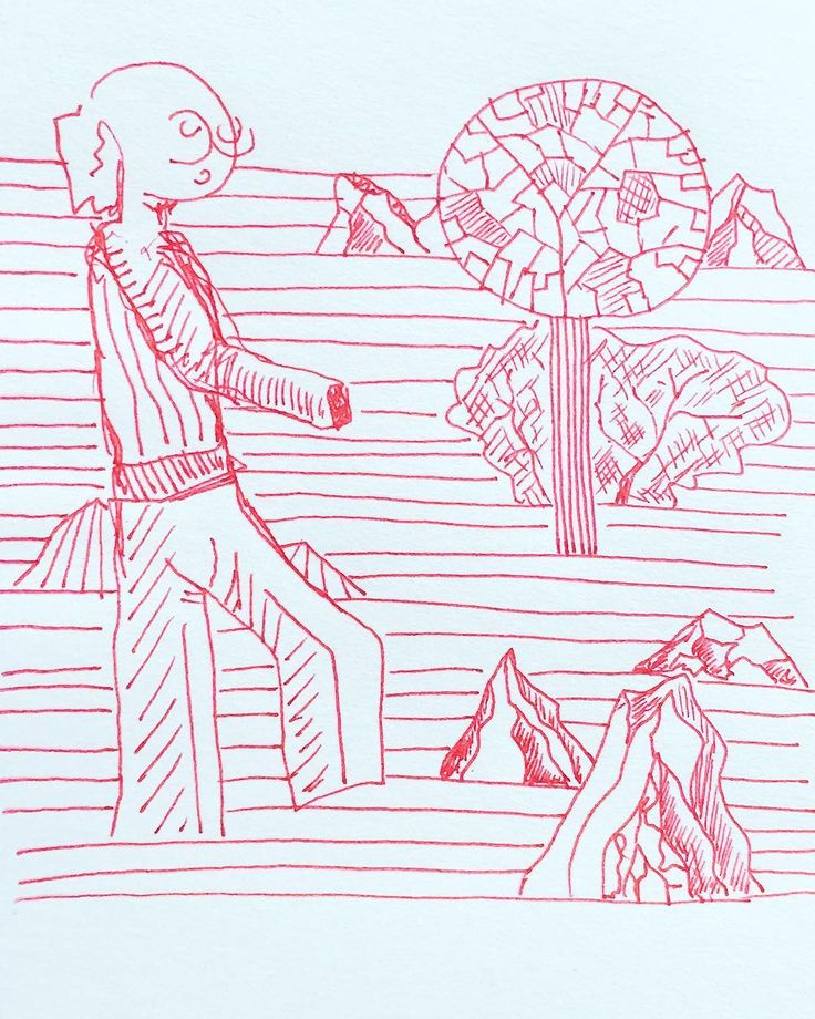 How to #build a #zen #sand #garden in 7' #red #ink #drawing on #paper