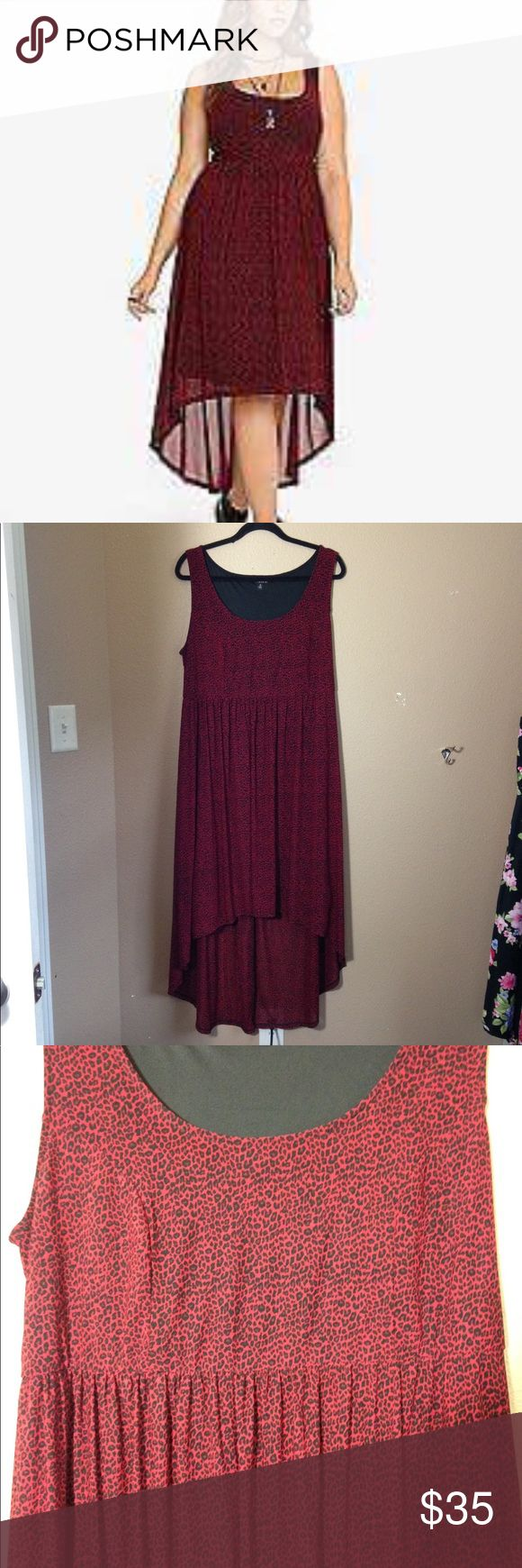 TORRID cheetah print Hi low dress Torrid red and black cheetah print hi low dress. Great condition torrid Dresses