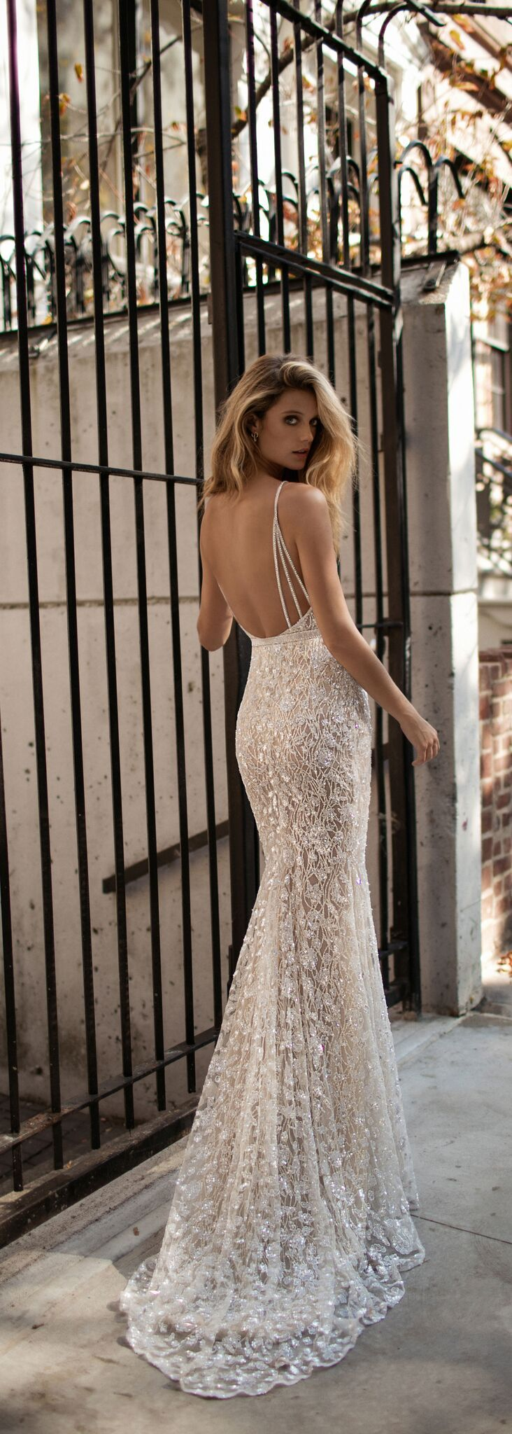 The texture and strap detailing on this @bertabridal gown are just beautiful.