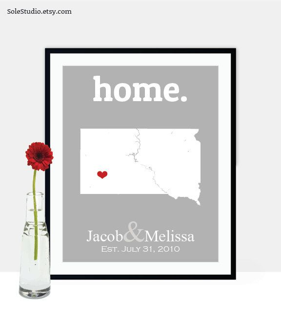 South Dakota Map Art Unique Engagement Gifts for Couple Gifts for Her for Fiance Personalized Engagement Gifts for Him Custom Engagement by SoleStudio on Etsy