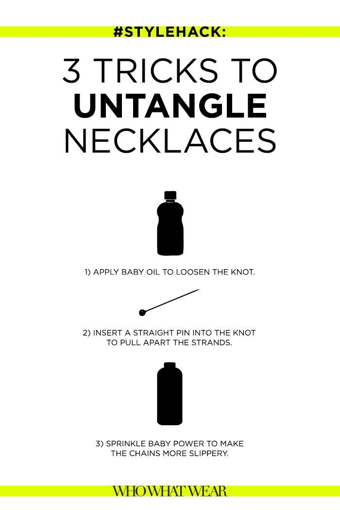 Follow these three tips for learning how to untangle your chain necklaces.