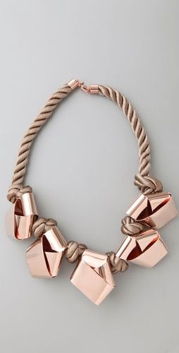 Knotted Rose Gold Rope Statement Necklace |Perfect For Dressing Up A Casual Look.