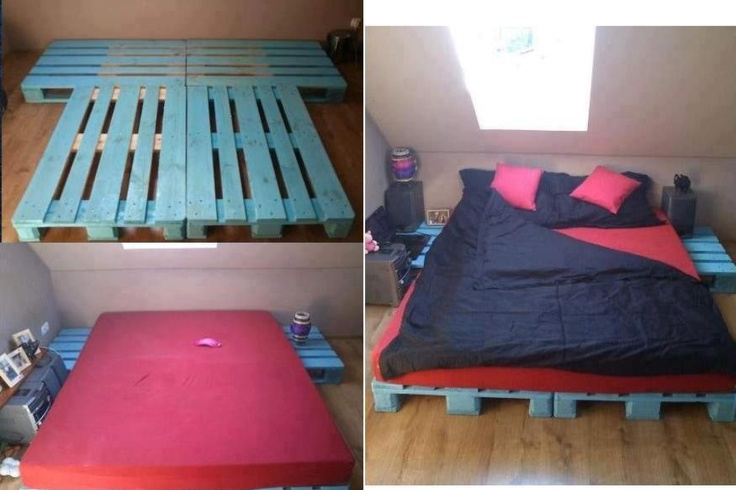 Pallet futon frame, spray painted a pretty color