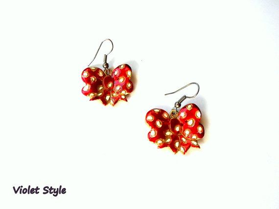 Handmade earrings  red bows  white polka dots by violettstyle, €18.52