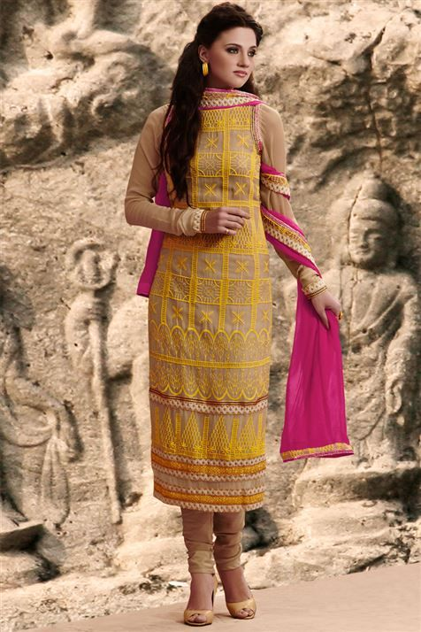 Superb Beige Georgette Resham Embroidered Straight Cut Suit