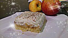 Apfel-Biskuit-Schnitten mit Zimt-Sahne