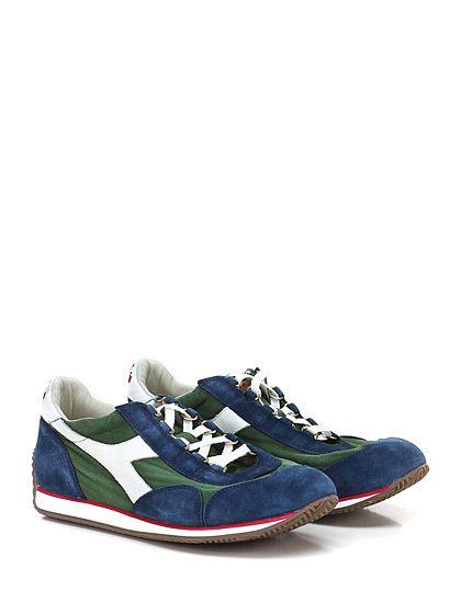 DIADORA Heritage - Sneakers - Uomo - Sneaker in tessuto e camoscio effetto vintage con suola in gomma. Tacco 15. - GREEN\BLU - € 155.00