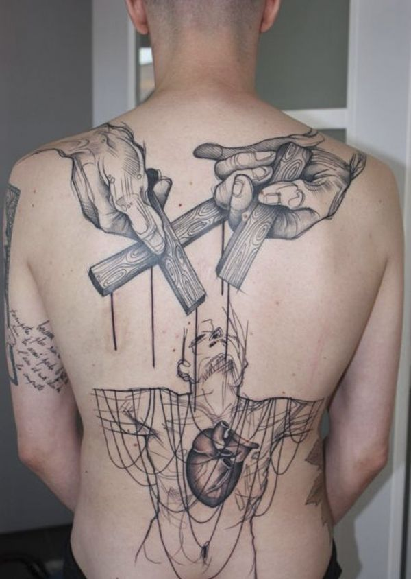 I would like to have this marionette tattoo, but have the sticks being crucifixes and the hands being the hand of God controlling everything that man does.