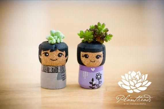 Suculenta, invierno en Tokio Plantheads suculentas Mini jardín Champagne corchos, jefes de planta par, plantas suculentas, boda Topper