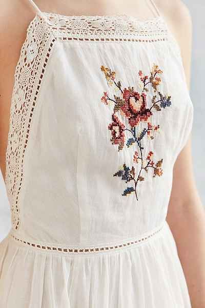 WANT. Kimchi Blue Needlepoint Apron Midi Dress - Urban Outfitters