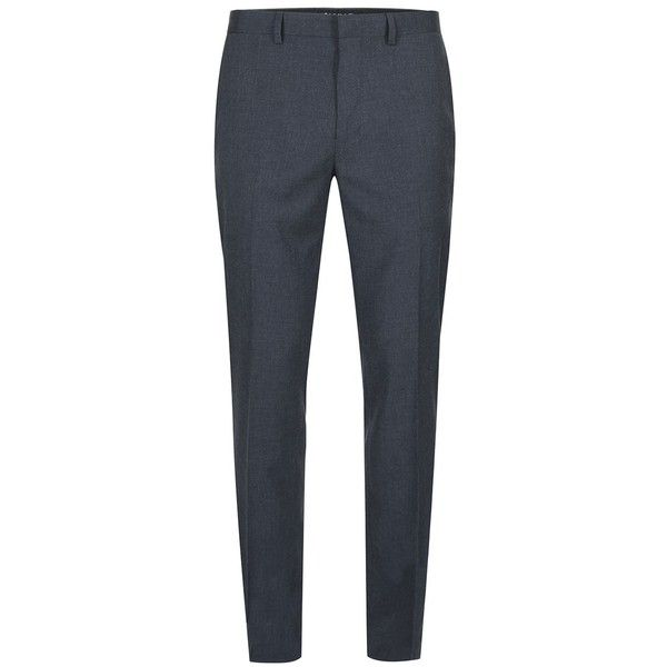 TOPMAN Navy Marl Skinny Fit Suit Trousers (£40) ❤ liked on Polyvore featuring men's fashion, men's clothing, men's pants, men's dress pants, blue, mens skinny dress pants, old navy mens pants, mens navy blue dress pants, mens polyester pants and mens skinny suit pants