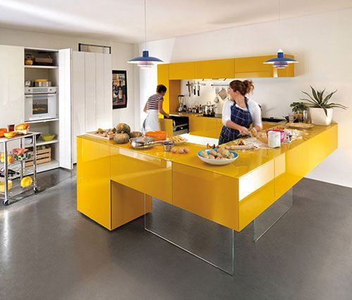 Gele keukens | Interieur inrichting