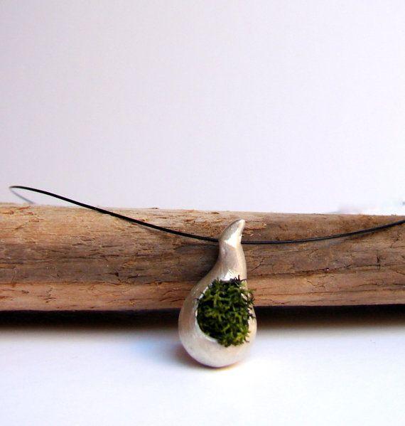 Grün Moss Halskette, botanische Schmuck, rustikale Wald-Hochzeit, Natur-Schmuck