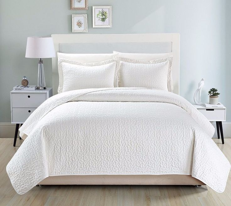 Chezmoi Collection Cotton Quilted Bedspread Coverlet 3 Piece King Set, White