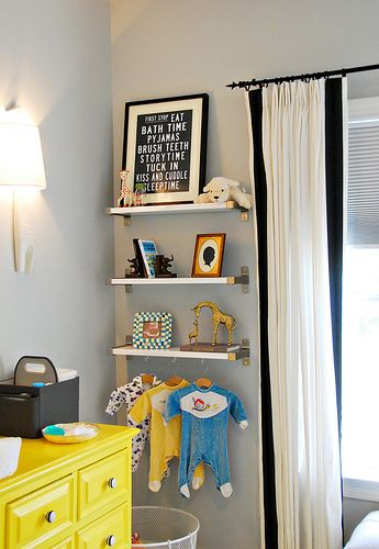I like the shelving on this wall particularly the cute for Nursery hanging storage