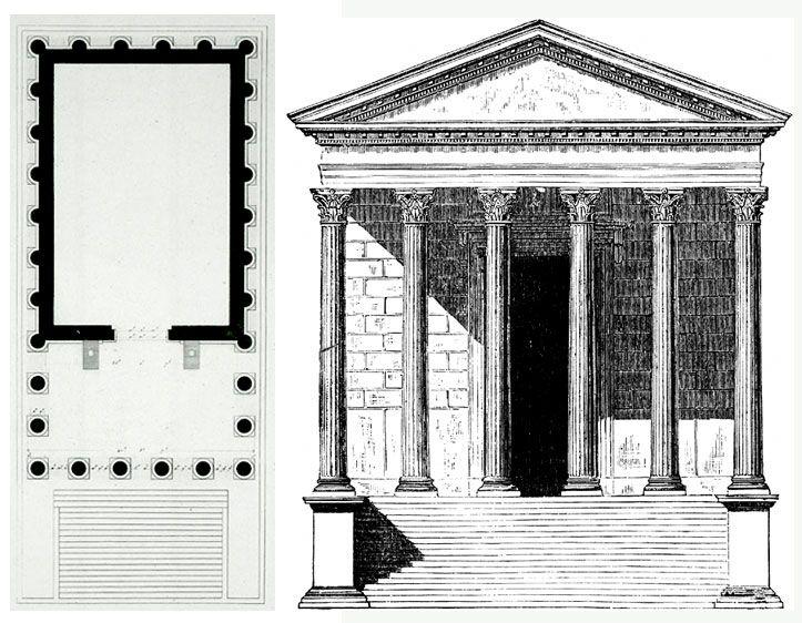 MAISON CARREE Maison Carrée (dom prostokątny) to najlepiej zachowana świątyna rzymska zbudowana w 19 AD w Nimes (Francja) przez Marcusa Vipsaniusa Agryppę (fundatora Panteonu) i poświęcona synom Augusta, Gajuszowi i Lucjuszowi. Właściwie można powiedzieć, że jest to zrealizowana w porządku korynckim modelowa świątynia etruska. Budynek stoi na cokole o wymiarach 26,42 x 13,54 x 2,85 m. Ok. 1/3 powierzchni cokołu zajmuje portyk z 10-ma korynckimi kolumnami, a cella ozdobiona jest z zewnątrz…
