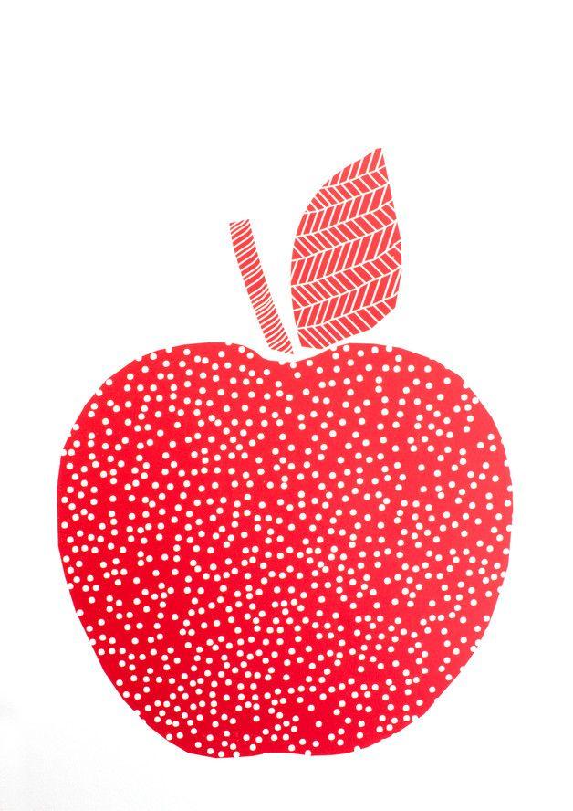 Siebdruck - APFEL Siebdruck A3 Rot Plakat Appel Obst Bild Home - ein Designerstück von Morkebla bei DaWanda