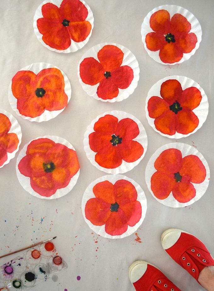 Poppy Art With Coffee Filters Mohnblumen Kunst Kunst Fur Kinder Und Blumenhandwerk