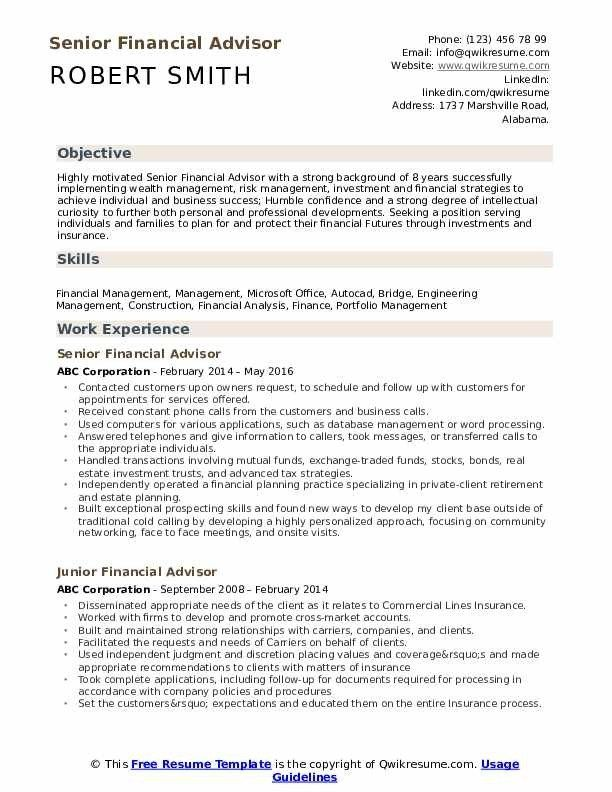 Financial Advisor Resume Template Milaswesternscandinavia Resume Skills Resume Examples Resume Objective Examples