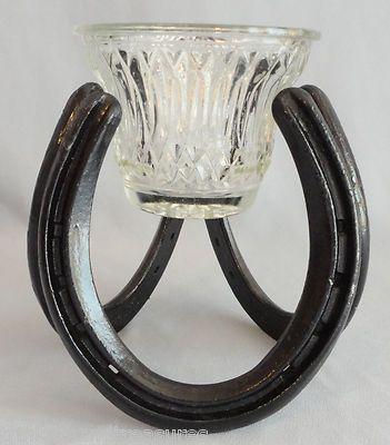 Cowboy Western Cabin Decor St. Croix Forge Horseshoe Candle Holder!