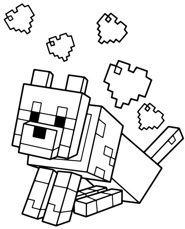 Minecraft Dog With Hearts Minecraft Coloring Pages Coloring Pages Animal Coloring Pages