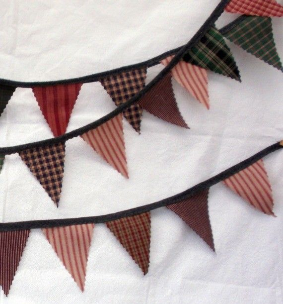 Primitive Fabric Banner Bunting / Pennant / Flags-: Primitive Things, Primitive Fabrics