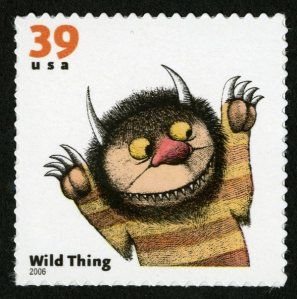 Maurice Sendak is an Jewish-American writer and illustrator bornJune 10, 1928 in Brooklyn, New York. He bothwrote and illustrated the book. It was published in 1963 and became an immediate hit. The story received the Caldecott prize forMost Distinguished American Picture book for children in 1964. Sendak's books are somewhat controversial because of his drawings and subject matter, but the kids eat it up.: Mauric Sendak, American Pictures, Wild Things, Literary Stamps, Pictures Books, Children Books, Postal Stamps, Stamps Collection, Postage Stamps