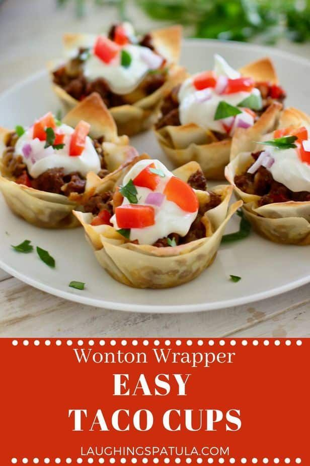 Beef Wonton Taco Cups Perfect Snack Lunch Or Dinner Recipe In 2020 Wonton Taco Cups Taco Cups Wonton Tacos