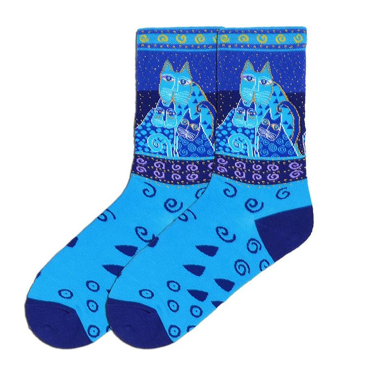 Blue Felines Socks for Women feature various shades of blue, a hint of purple and just a slight metallic threading around the design of each feline.