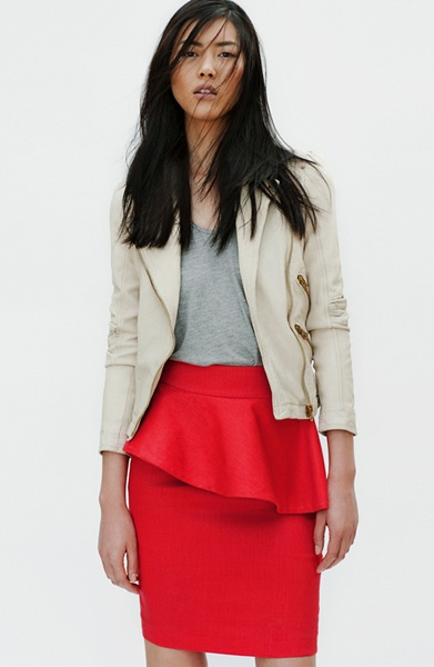 Zara SkirtLiu Wen, Colors Combos, Fashion Style, Pencil Skirts, Leather Jackets, Zara April, New Shoes, Bright Colors, Peplum Skirts