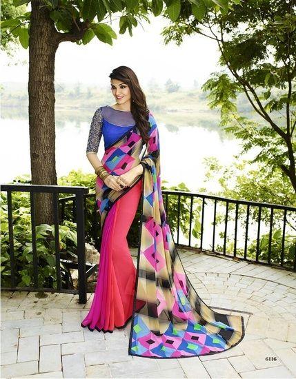 Indian Vogue Self Design Beautiful Multicolor Georgette Saree
