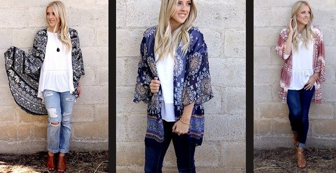 Kimonos are in right now and these styles are perfect for transitioning to fall! Pair with a flowy tee, some fun jewelry and booties for a comfortable, stylish, and flattering look you will want to wear every day!
